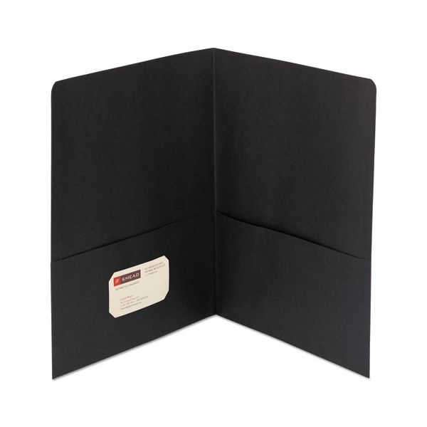 Smead Two-Pocket Folder, 100-Sheet Capacity, Black, 25/Box