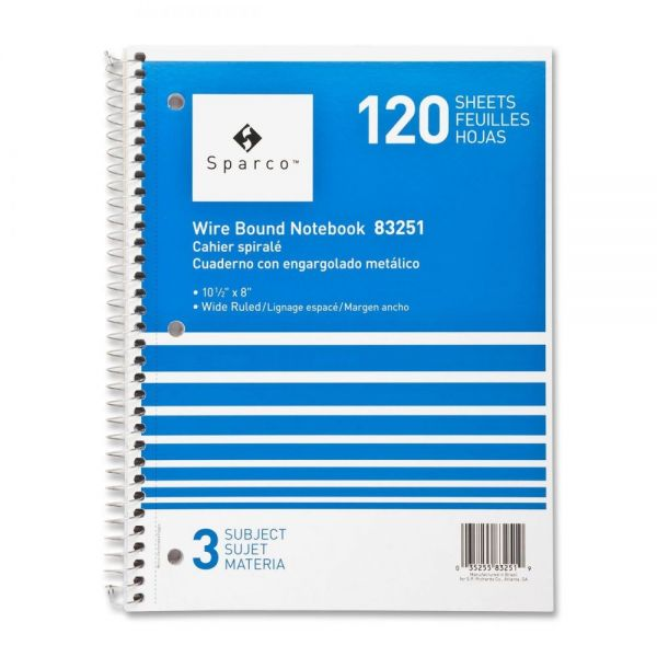 Sparco 3-Subject Wide Ruled Spiral Notebook