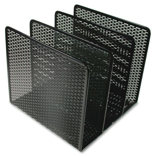 Artistic Urban Collection Punched Metal File Sorter, Three Sections, 8 x 8 x 7 1/4, Black