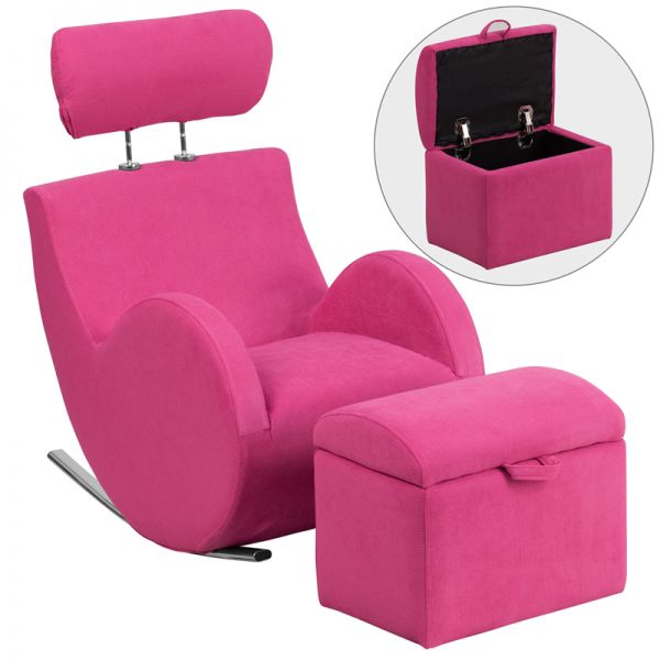 Flash Furniture HERCULES Series Pink Fabric Rocking Chair with Storage Ottoman