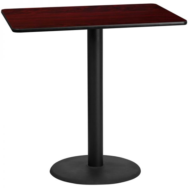 Flash Furniture 30'' x 48'' Rectangular Mahogany Laminate Table Top with 24'' Round Bar Height Table Base