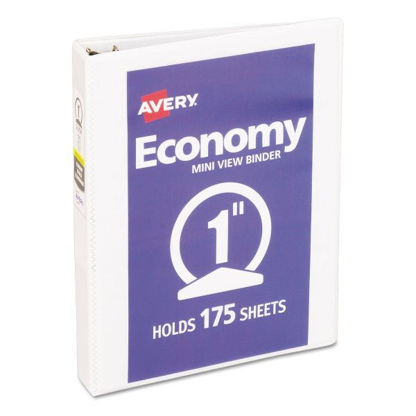 "Avery Economy Mini View Binder w/Round Rings, 8 1/2 x 5 1/2, 1"" Cap, White"