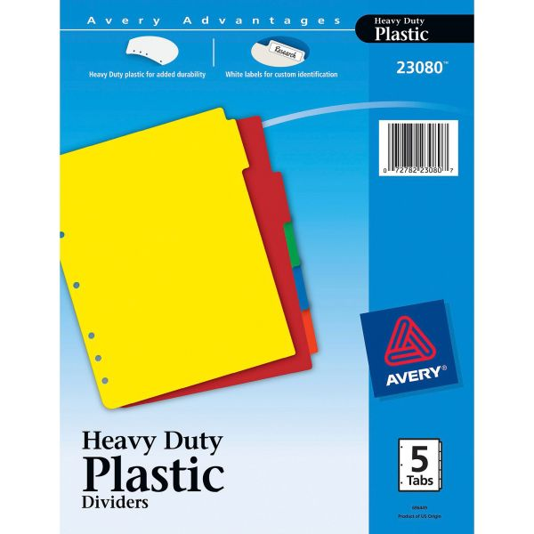 Avery Write-On Heavy-Duty Plastic Tab Dividers w/White Labels, 5-Tab, Multi-color Tab, Letter, 1 Set