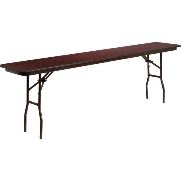Flash Furniture 18'' x 96'' Rectangular High Pressure Mahogany Laminate Folding Training Table