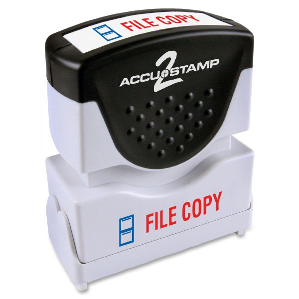ACCUSTAMP2 Pre-Inked Shutter Stamp, Red/Blue, FILE COPY, 1 5/8 x 1/2