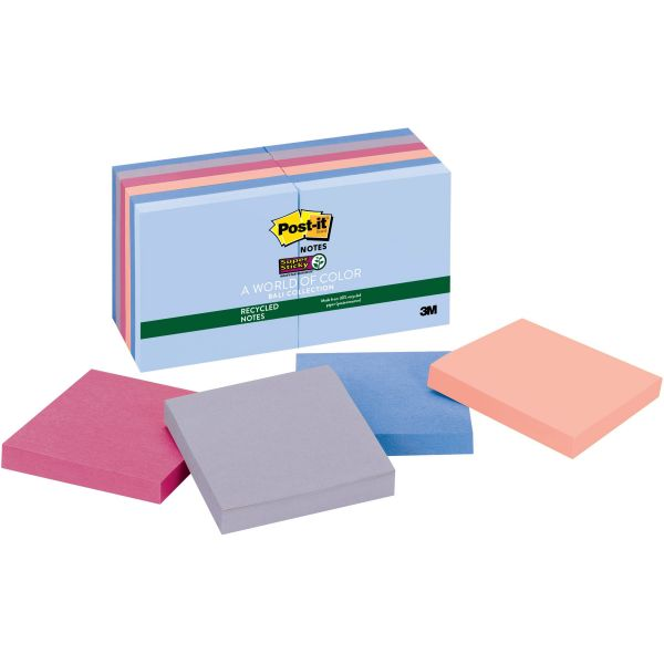 """Post-it 3"""" x 3"""" Recycled Super Sticky Notes"""