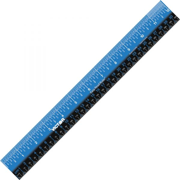 "Victor Plastic Dual Color 12"" Easy Read Ruler"