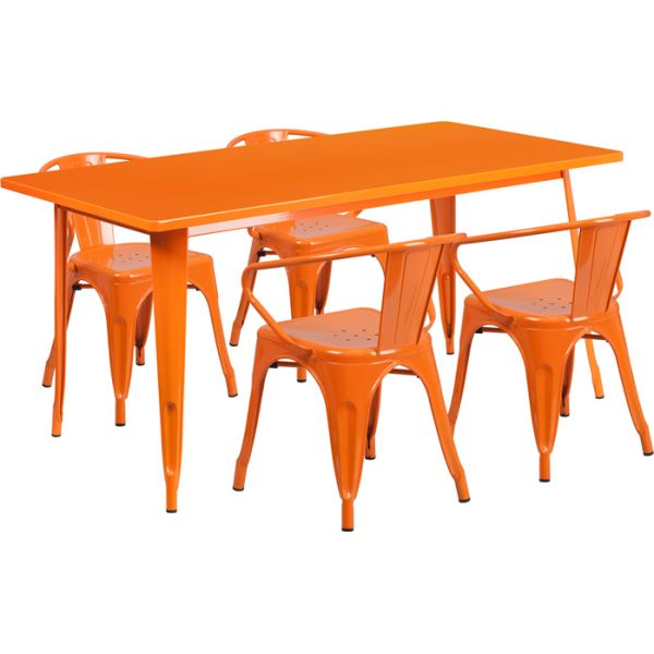 Flash Furniture 31.5'' x 63'' Rectangular Orange Metal Indoor-Outdoor Table Set with 4 Arm Chairs
