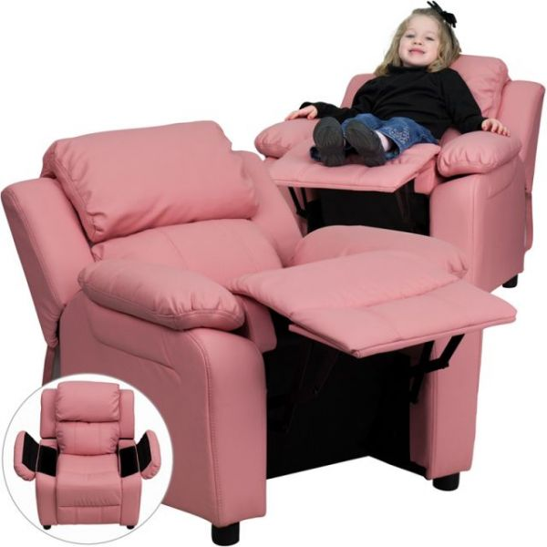 Flash Furniture Deluxe Heavily Padded Contemporary Pink Vinyl Kids Recliner with Storage Arms [BT-7985-KID-PINK-GG]