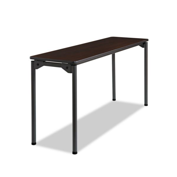 Iceberg Maxx Legroom Rectangular Folding Table, 60w x 18d x 29-1/2h, Walnut/Charcoal