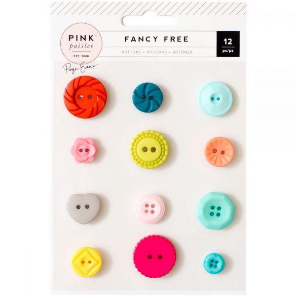 Fancy Free Plastic Buttons 12/Pkg