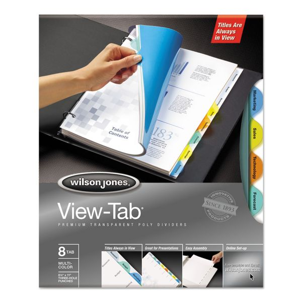 Wilson Jones View-Tab Transparent Index Dividers, 8-Tab, Round, Letter, Assorted