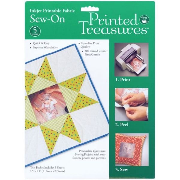 "Printed Treasures Sew-On Ink Jet Fabric Sheets 8.5""X11"" 5/Pk"