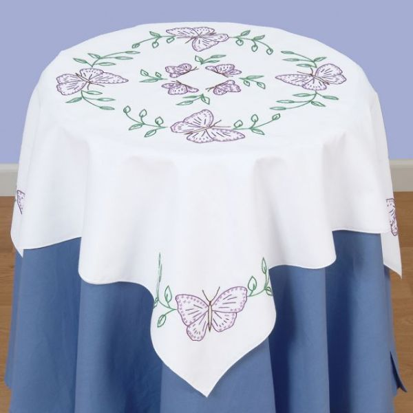 "Stamped White Perle Edge Table Topper 35""X35"""