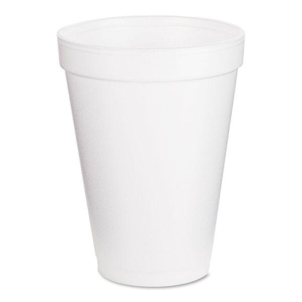 Dart Foam Drink Cups, 12oz, White, 25/Bag, 40 Bags/Carton