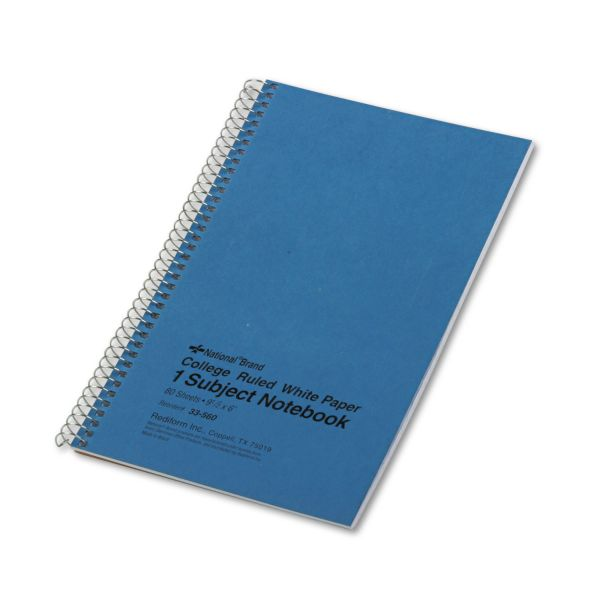 National Subject Wirebound Notebook, College Rule, 9 1/2 x 6, White, 80 Sheets