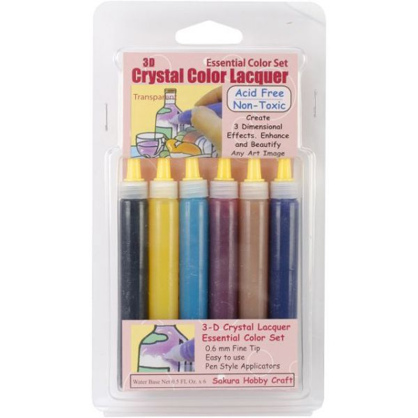 3D Crystal Lacquer Color Pens 6/Pkg