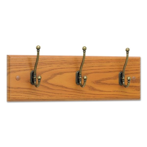 Safco Wood Wall Rack, Three Double-Hooks, 18w x 3-1/4d x 6-3/4h, Medium Oak