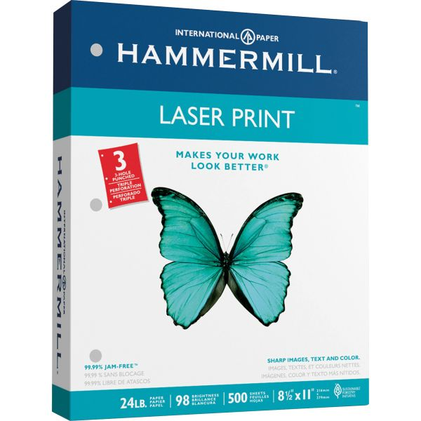 Hammermill 3 Hole Punched Laser Print Printer Paper