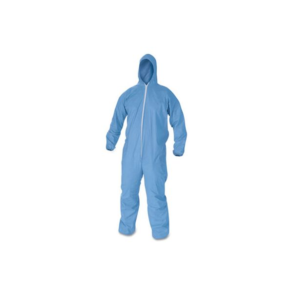 KleenGuard* A60 Elastic-Cuff, Ankles & Back Hooded Coveralls, Blue, X-Large, 24/Case