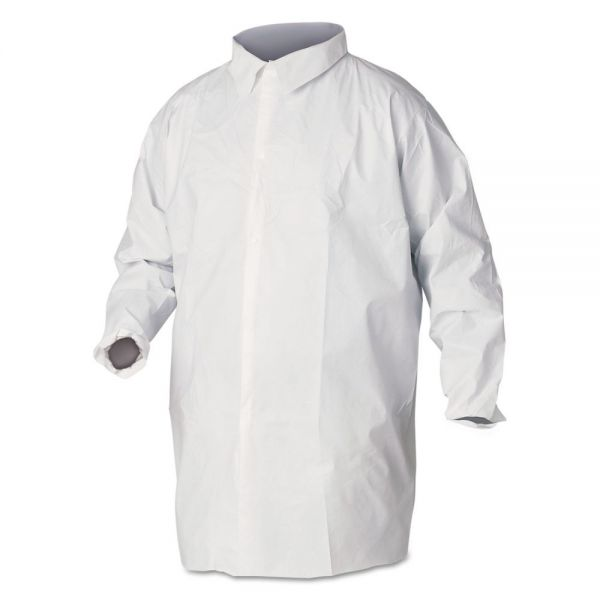KleenGuard* A40 Liquid and Particle Protection Lab Coats, Large, White, 30/Carton