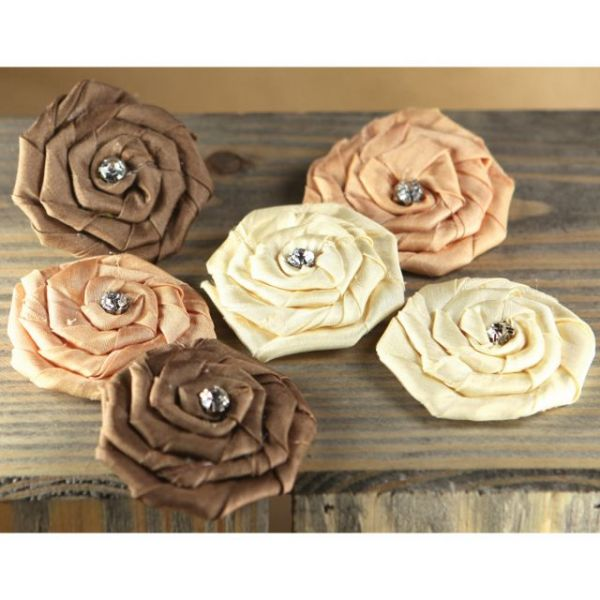 "Allure Fabric Flowers W/Gems 1.75"" To 2"" 6/Pkg"