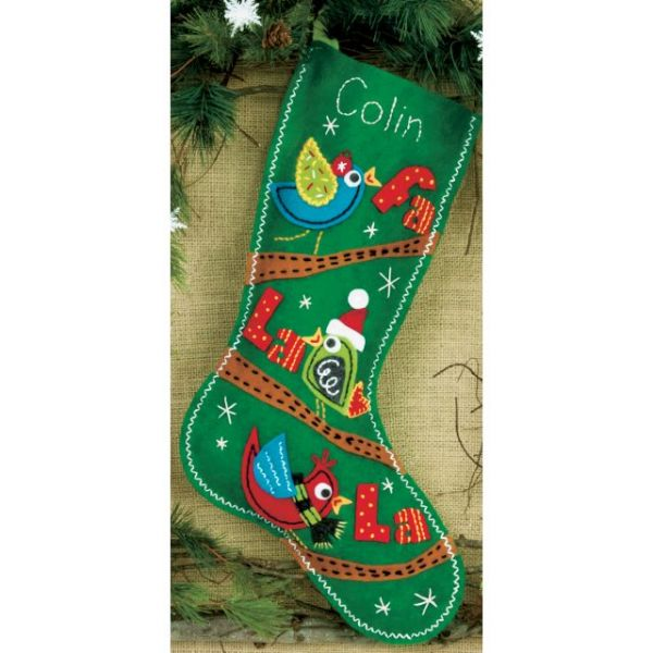 Fa La La Birds Stocking Felt Applique Kit