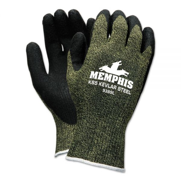MCR Safety KS-5 Latex Dip Gloves, 13 gauge, Green/Black, Large
