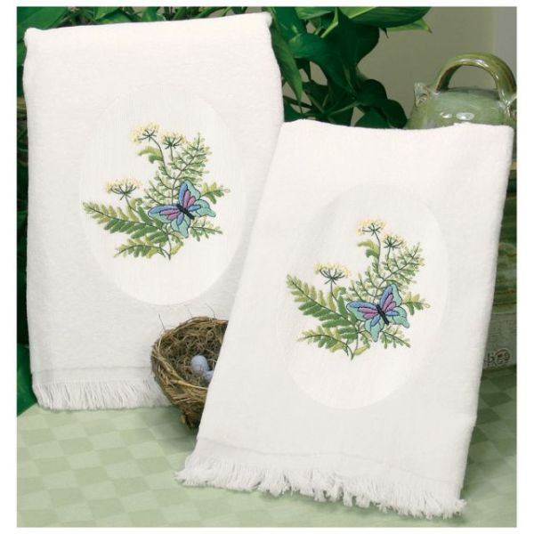"Stamped Embroidery Guest Towels 16""X26"" 2/Pkg"