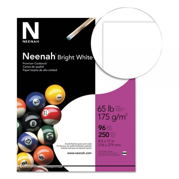 Neenah Bright White Card Stock, 65lb, 96 Bright, 8 1/2 x 11, White, 250 Sheets