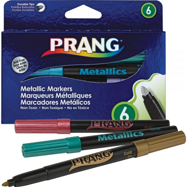 Dixon Prang Washable Markers, Bullet Tip, Six Assorted Metallic Colors, 6/St