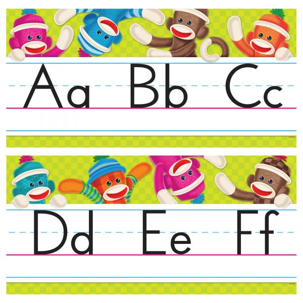 Sock Monkeys Alphabet Line Standard Manuscript Bulletin Board Set