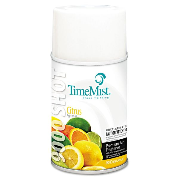 TimeMist 9000 Shot Metered Air Fresheners, Citrus, 7.5oz Aerosol, 4/Carton