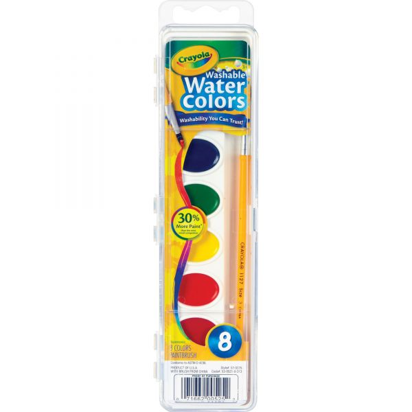 Crayola Washable Watercolor Paint, 8 Assorted Colors