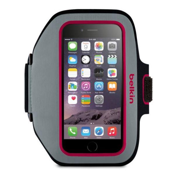 Belkin Sport-Fit Plus Carrying Case (Armband) for iPhone - Sidewalk, Fuschia