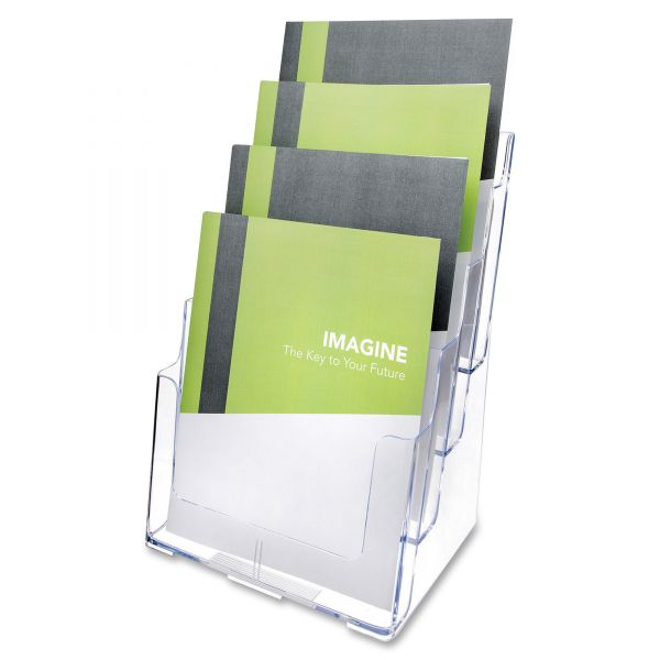 deflect-o Four-Tier Plastic Desktop Literature Display Rack, Clear