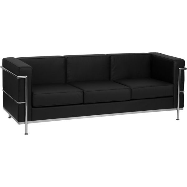 Flash Furniture HERCULES Regal Series Contemporary Black Leather Sofa with Encasing Frame