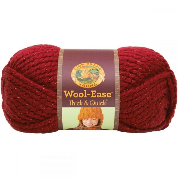 Lion Brand Wool-Ease Thick & Quick Yarn - Poinsettia-Metallic