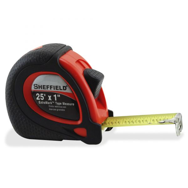 "Great Neck Sheffield ExtraMark Tape Measure, Red with Black Rubber Grip, 1"" x 25 ft"