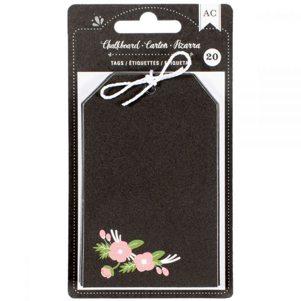 American Crafts Chalkboard Floral Tags 20/Pkg