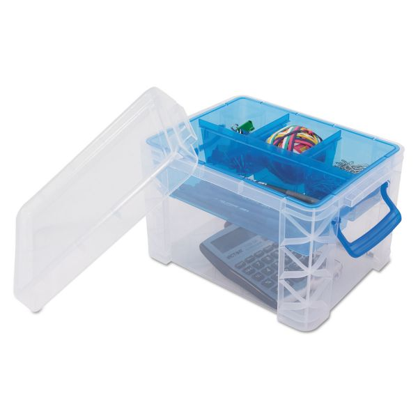 Advantus Super Stacker Divided Storage Box, Clear w/Blue Tray/Handles, 7 1/2 x 10.12x6.5