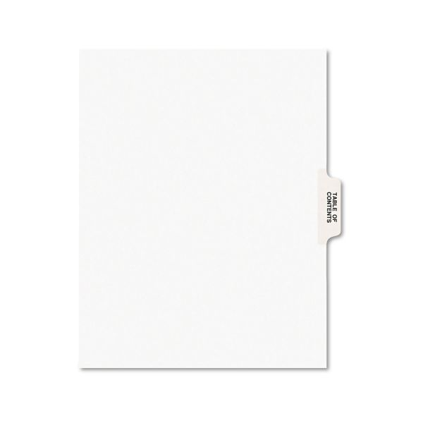Avery-Style Legal Exhibit Tab Dividers, Table of Contents, White, 25/Set