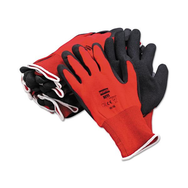 North Safety NorthFlex Red Foamed PVC Gloves, Red/Black, Size 10/XL, 12 Pairs