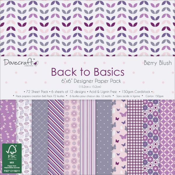"Dovecraft Back To Basics Paper Pack 6""X6"" 72/Pkg"