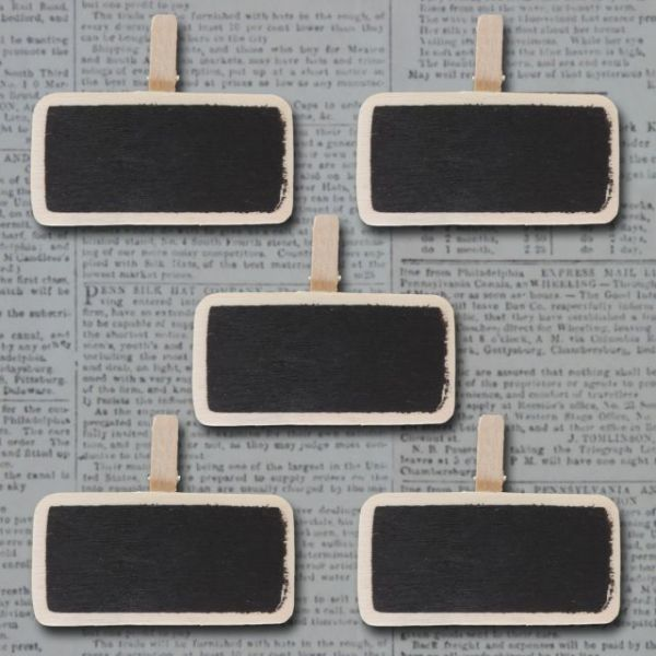 Mini Wooden Chalkboard Clips 5/Pkg