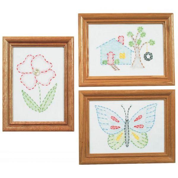 "Stamped Embroidery Kit Beginner Samplers 6""X8"" 3/Pkg"