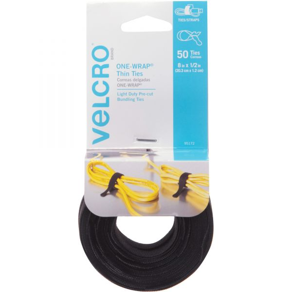 "Velcro One-Wrap Reusable Ties, 1/2"" x 8"", Black, 50/Pack"