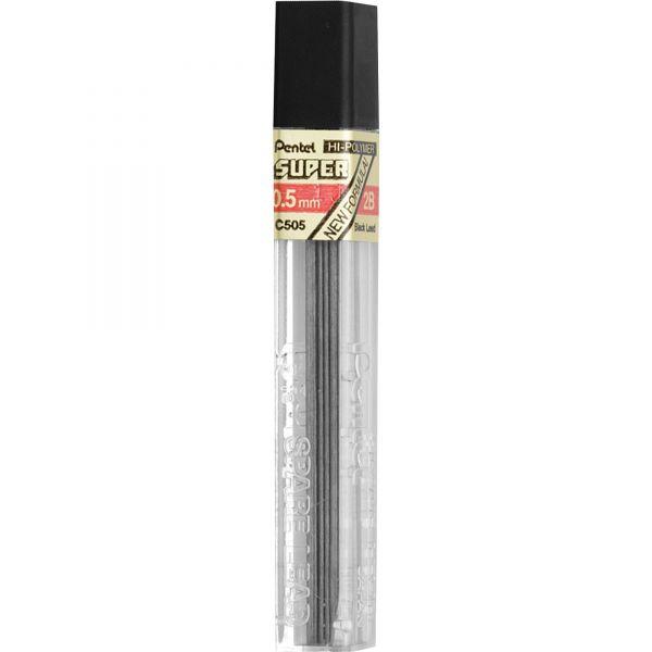 Pentel Super Hi-Polymer Lead Refills, 0.5mm, 2B, Black, 12 Leads/Tube