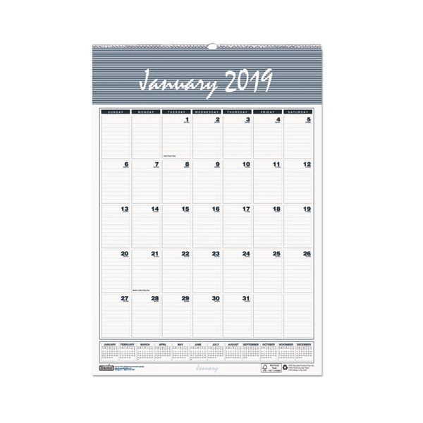 House of Doolittle Recycled Bar Harbor Wirebound Monthly Wall Calendar, 15 1/2 x 22, 2019