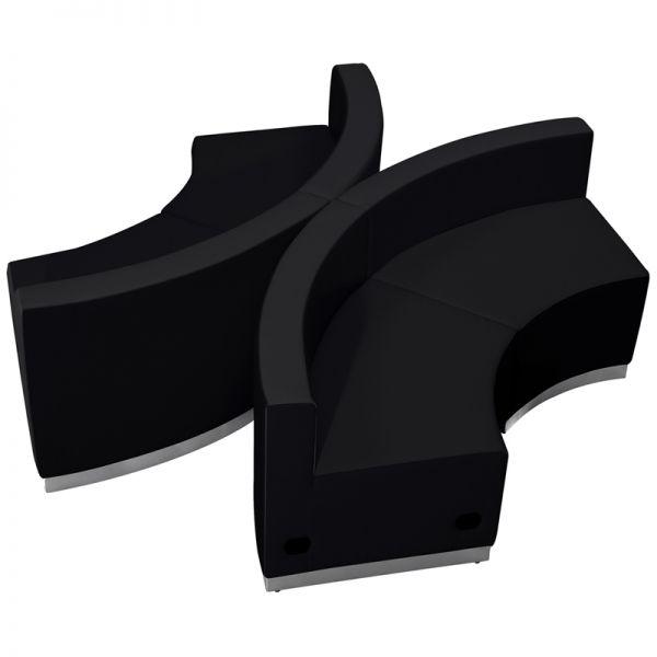 Flash Furniture HERCULES Alon Series Black Leather Reception Configuration, 4 Pieces